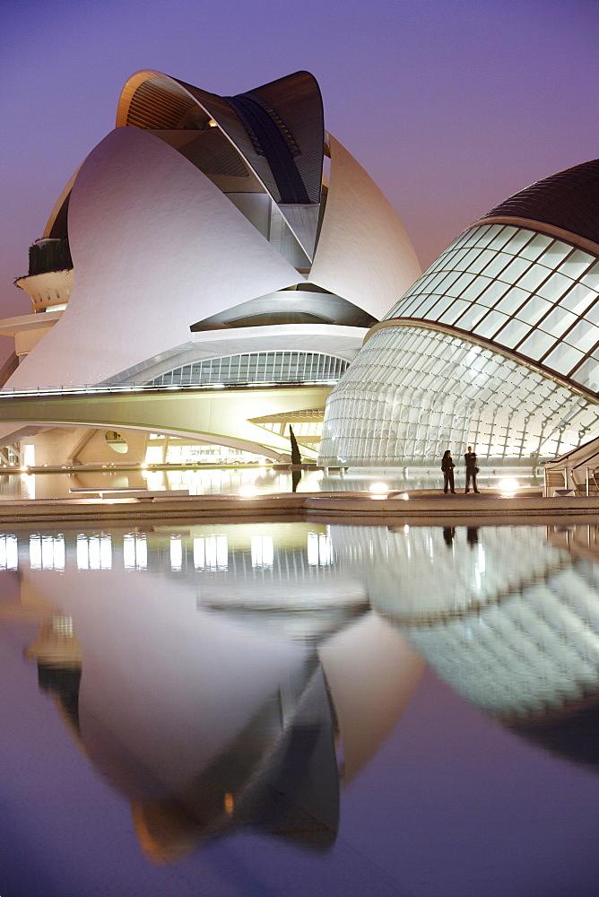 ESP, Spain, Valencia : Ciudad de las Artes Y de las Ciencias, City of arts and sciences. L'Hemisferic and Palau de les Arts Reina Sofia, concert, theatre hall
