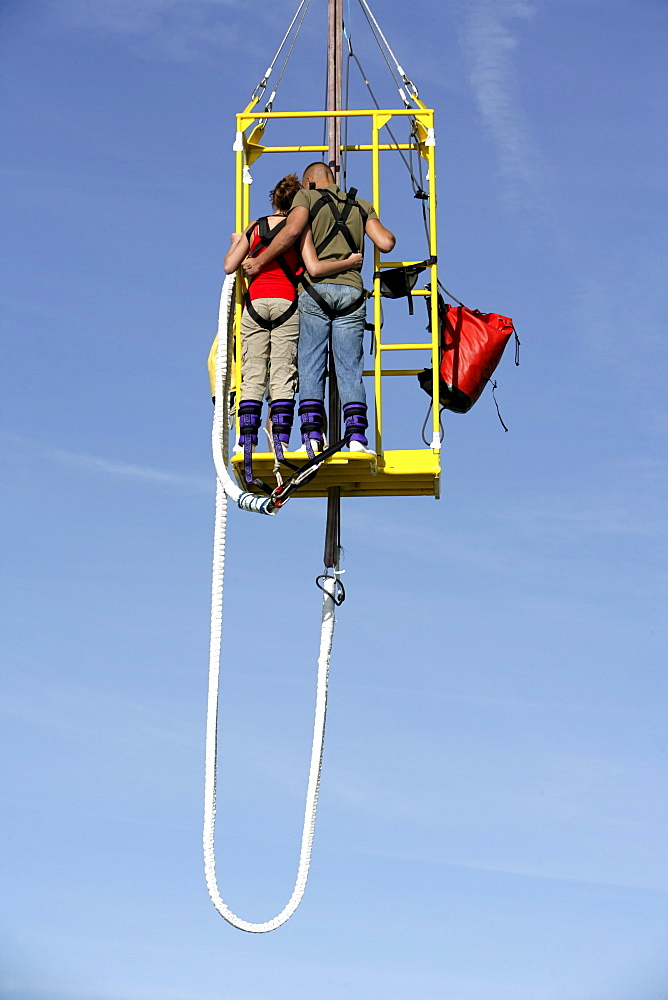 Bungee jumping from the pier, Scheveningen, The Hague, The Netherlands, Europe