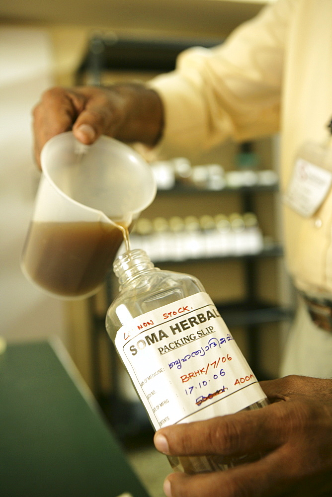 Medicines produced at in-house factory Soma Herbals, Somatheeram Ayurveda Resort, traditional Ayurvedic medicine spa resort, Trivandrum, Kerala, India, Asia
