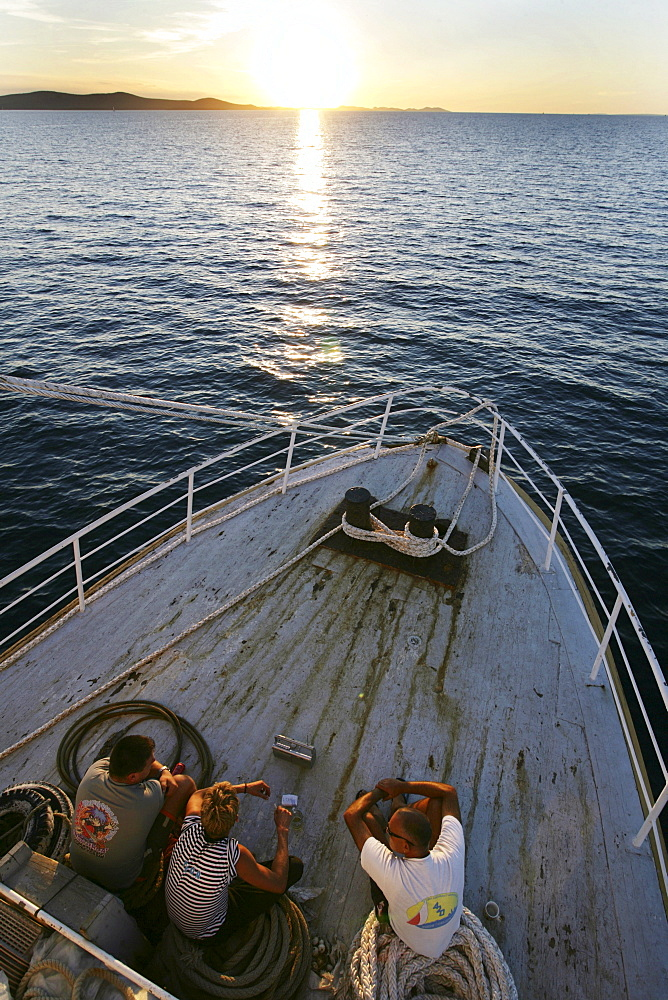 "Sardine fishing boat ""Jastreb, "" based in Kali on Ugljan Island, en route to a fishing site off of Pag Island in the Adriatic, Croatia"
