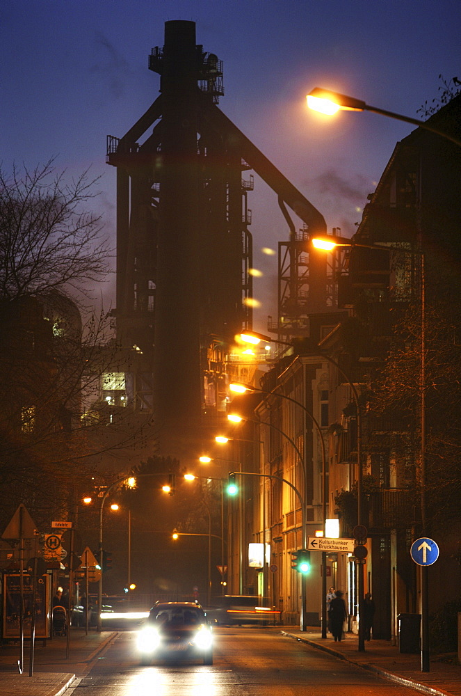 One of four new blast furnaces which produce 11.5 million tonnes of pig iron annually, ThyssenKrupp Steelworks, Duisburg, North Rhine-Westphalia, Germany, Europe