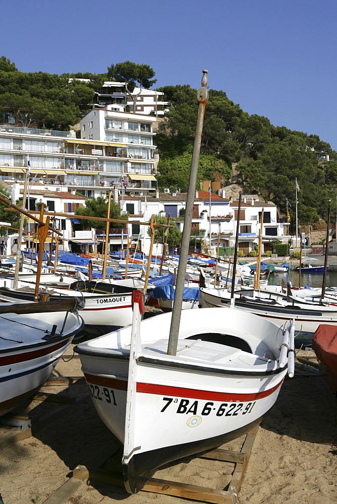 Docked boats in Llafranc, coastal town on the Costa Blanca, Catalonia, Spain