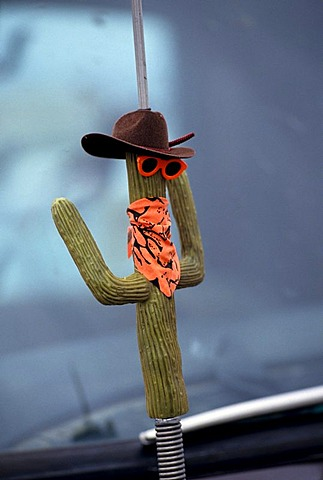 USA, United States of America, Arizona:car antenna with cactus design toy.