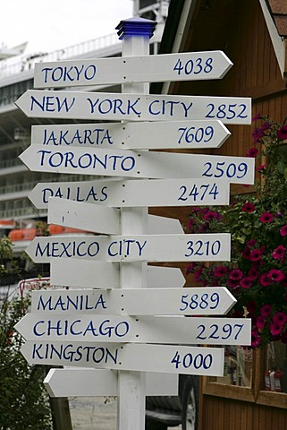 USA, United States of America : International signpost.