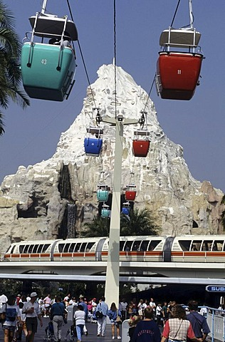 USA, United States of America, California: Los Angeles, Disneyland, cable car and monorail.
