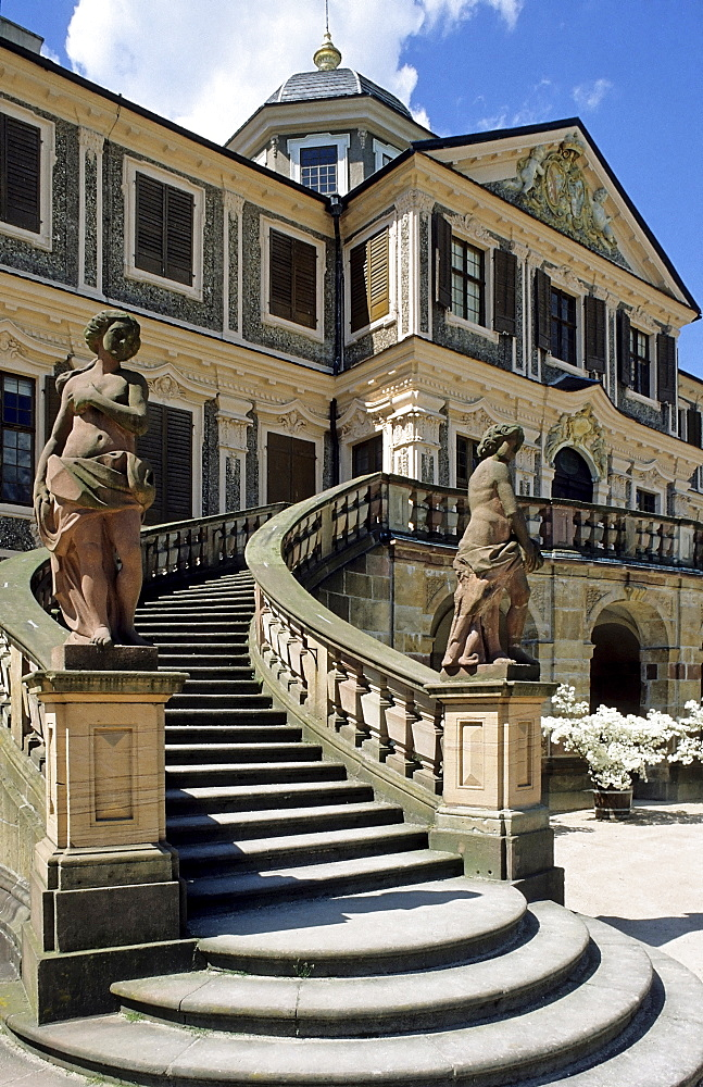 Grand staircase leading up to rear entrance to Schloss Favorite, Favourite Palace, rococo style, Rastatt, Baden-Wuerttemberg, Germany, Europe