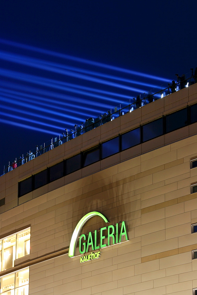 Luminale 2008, biannual lighting festival, floodlights on the Galeria Kaufhof department store, Frankfurt, Hesse, Germany