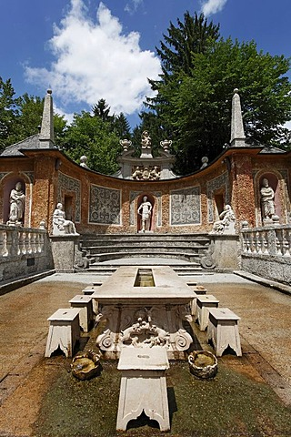 Trick fountains, table of the prince, Roman Theater, Hellbrunn, Salzburg, Austria