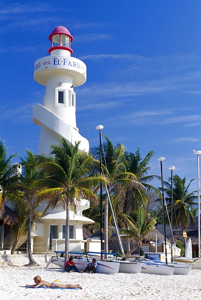Lighthouse on the Playa del Carmen Beach along the Riviera Maya, Yucatan, Mexico, North America
