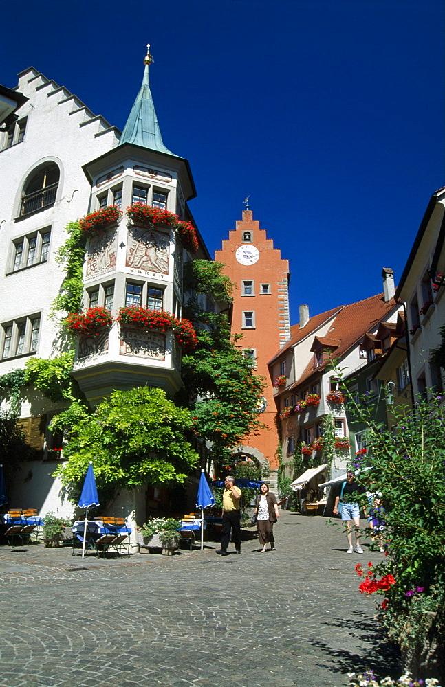 Loewen Hotel and wine restaurant, Obertor, upper town gate, Meersburg, Lake Constance, Baden-Wuerttemberg, Germany