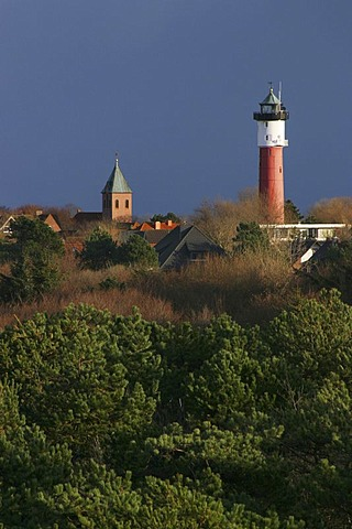 Skyline of the island town with Old Lighthouse and island church, Wangerooge, Lower Saxony, Germany