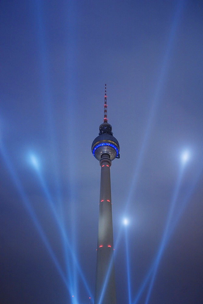 Telecommunications tower, Alexanderplatz in Berlin during the Festival of Lights, Berlin, Germany, Europe