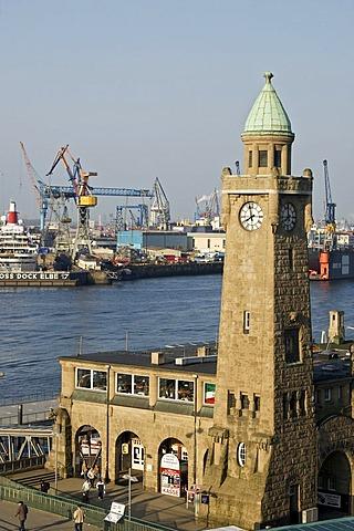 St Pauli Landungsbruecken at Hamburg Harbour Germany
