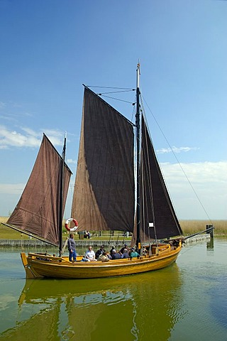 Traditional fishing boat leaving Althagen near Ahrenshoop for a trip Germany