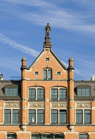 Front of a traditional residential house near Speicherstadt, Hamburg, Germany