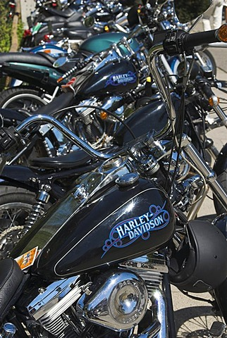 Harley Davidson motorbikes parked in a row at Harley Days 2006, Hamburg, Germany