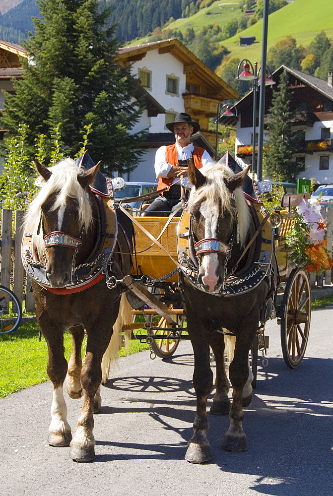 Decorated coach, Stubai Valley, Tyrol, Austria