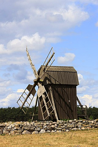 One of the remaining 400 windmills from originally 2000, Oeland, Kalmar County, Sweden, Scandinavia, Europe