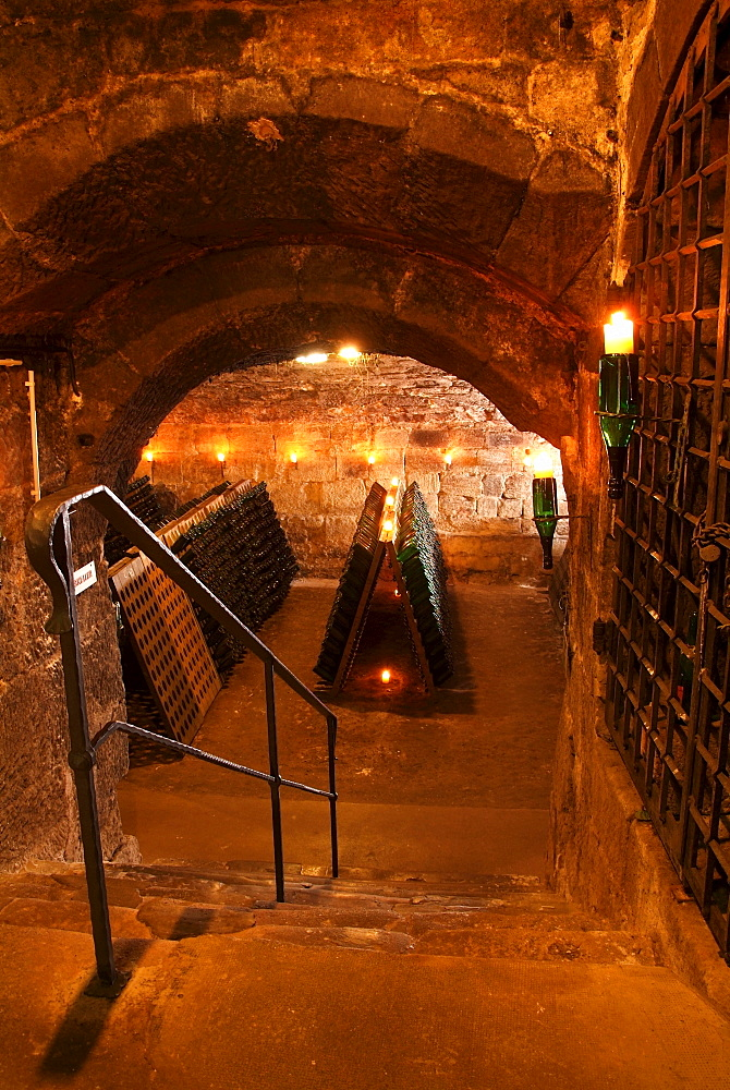 Entrance to an old vault cellar used for the storing and fermentation of champagne, Kessler sparkling winery, Esslingen, Baden-Wuerttemberg, Germany, Europe