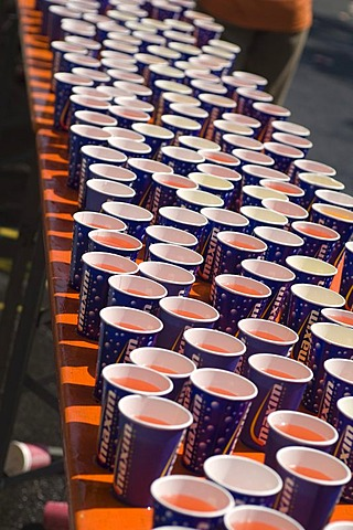 Paper cups ready for marathon runner