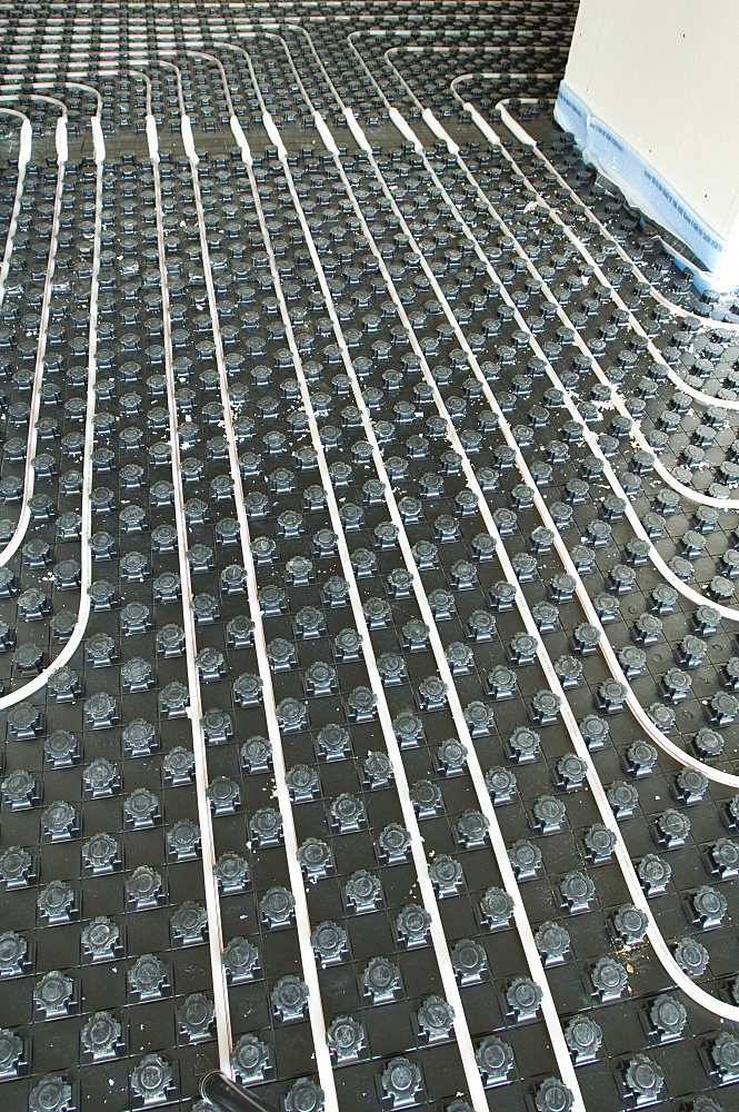 Construction of a hospital, laying an underfloor heating, Gelsenkirchen, North Rhine-Westphalia, Germany
