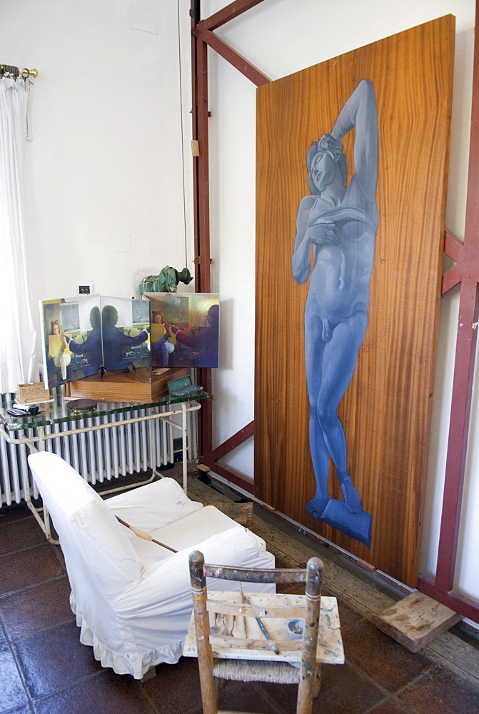 Artist's studio and the last unfinished painting in the summer house of surrealist painter Salvador Dali and his wife Gala in Port Lligat, Girona Province, Spain