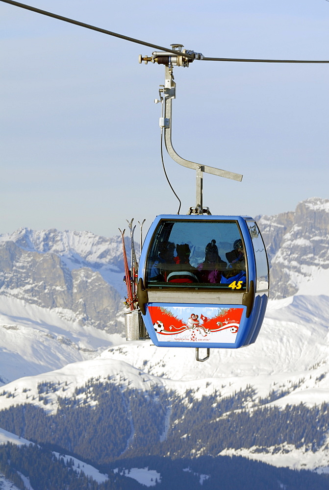 Ski-lift on the top of Parsenn - Davos, Canton of Graubuenden, Switzerland, Europe.