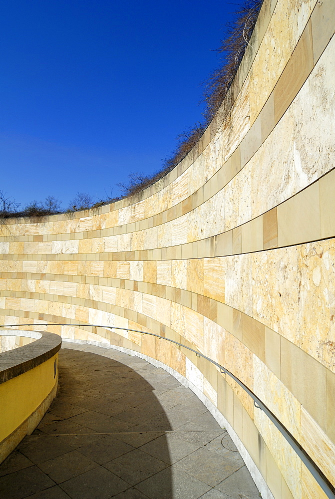 Stairs going up to the Staatsgalerie (State Gallery) in Stuttgart, Baden-Wuerttemberg, Germany, Europe