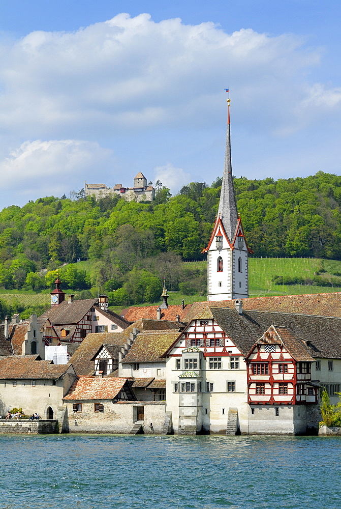 Historic part of town on the bank of the Rhine River, Stein am Rhein, Canton of Schaffhausen, Switzerland, Europe