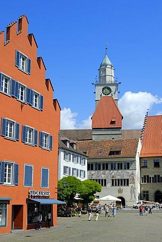 Marktplatz Square, Cathedral, Ueberlingen am Bodensee, Baden-Wuerttemberg, Germany, Europe