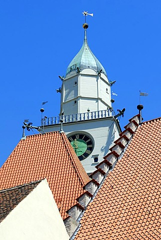 Pitched roof and Cathedral tower, Ueberlingen am Bodensee, Baden-Wuerttemberg, Germany, Europe