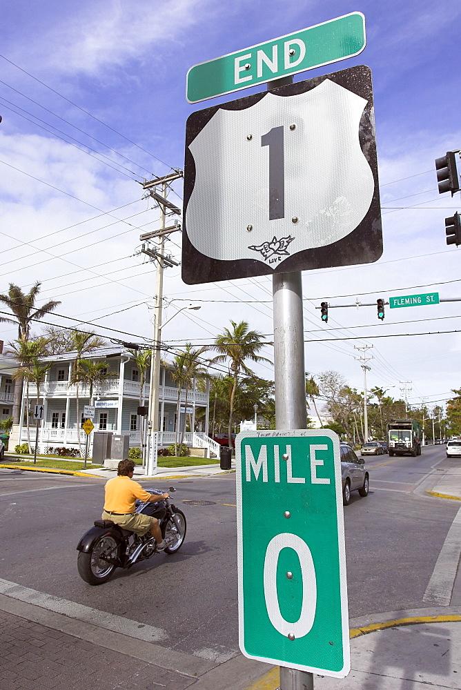 Street sign, end of the U1, Key West, Florida, USA