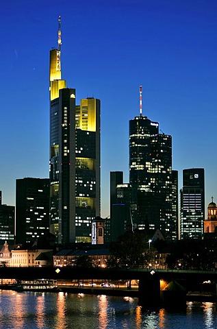 Skyline of Frankfurt Main, Hessen, Germany.