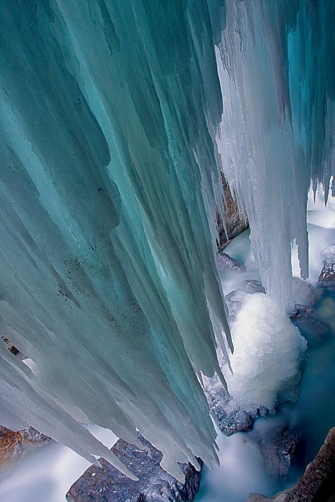 Icicles formed at Partnachklamm Gorge in wintertime, Garmisch-Partenkirchen, Bavaria, Germany, Europe