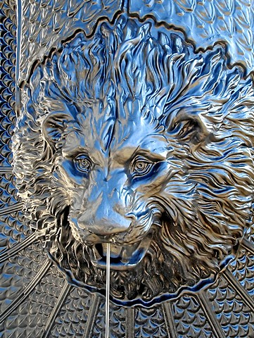 Lion head, decorative sculpture on a fountain, Leipzig, Saxony, Germany