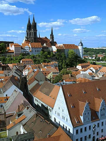 Old town of Meissen with the nightmare on the right castle, the cathedral and the city hall, Saxony, Germany