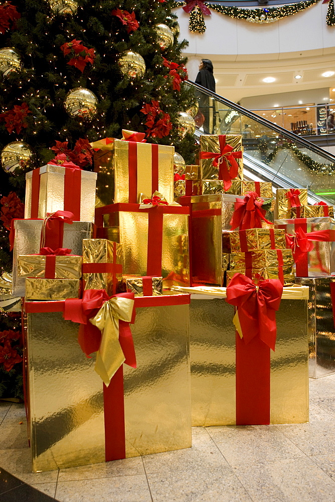 Christmas tree with gifts, mall, Neu Isenburg, Hesse, Germany