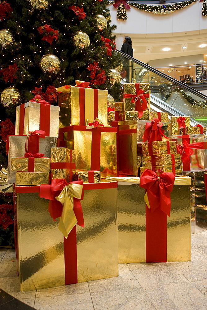 Christmas tree with gifts, mall, Neu Isenburg, Hesse, Germany