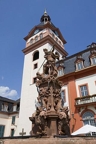 Schlosskirche Church on Marktplatz Square of the Weilburg Renaissance Castle, Weilburg an der Lahn, Hesse, Germany, Europe
