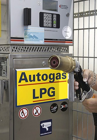 Gas pump, gas station for liquefied petroleum gas or LPG, Germany