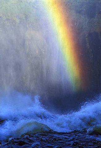 Rainbow over Zambesi River, Victoria Falls, Zimbawe.
