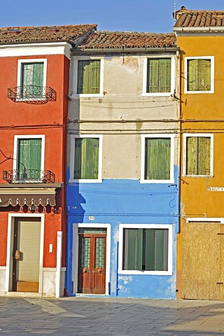 Colourful facades, Burano Island, Venice, Italy, Europe