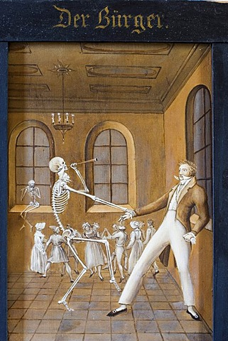 Death dance 1830 from Anton Falger in St Martin chapel Elbigenalp Tyrol Austria