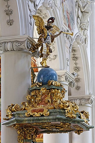 Amberg , baroque pulpit in church St Georg - Upper Palatinate Bavaria Germany