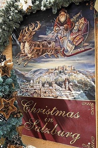 "Poster ""Christmas in Salzburg"" and Christmassy decoration, Salzburg, Austria"