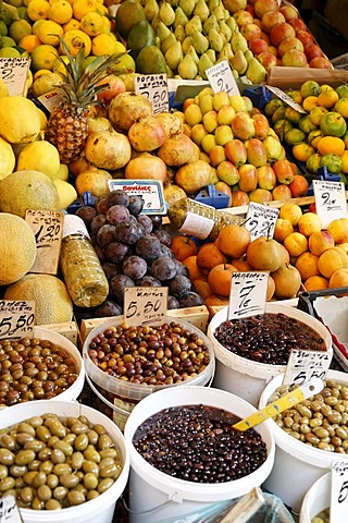Fruits and olives at market in Heraklion (Iraklion), Crete, Greece