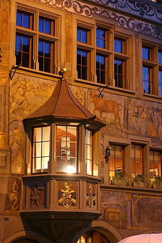"The veneer of the historic restaurant ""Roter Ochsen"" in the old center of Stein am Rhein, Schaffhausen, Switzerland"