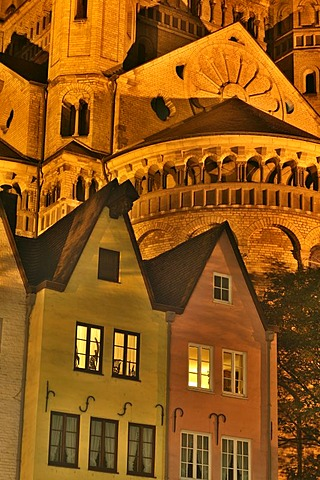 Facades of houses in front of the big St. Martin church in the city center of Cologne, NRW, Germany