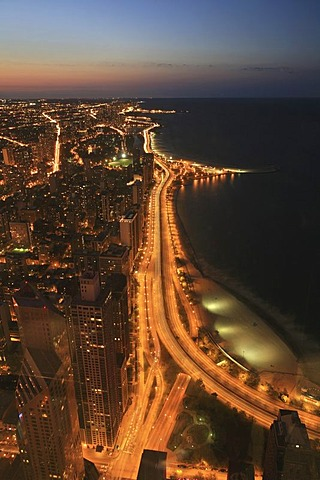 The Strand hook of North Avenue Beach at dusk on Lakeshore Drive, Chicago, Illinois, USA