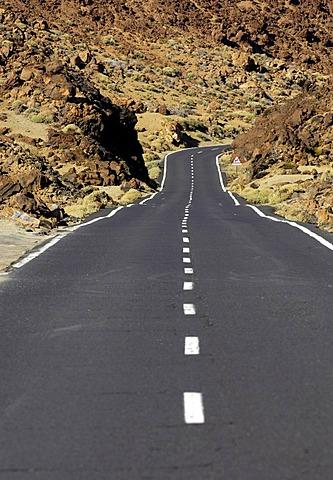 Road through Teide National Park, Teneriffe, Canary Islands, Spain